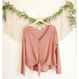 Sienna Sky Mauve Waffle Knit Button Knotted Top L